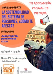 """Charla-debate """"La sostenibilidad del sistema de pensiones, ¿cómo te afecta? @ Sede Asociación Vecinal La Axerquía"""